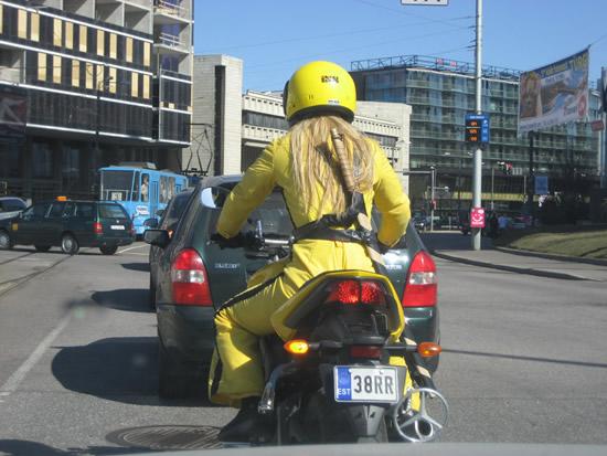 Kill Bill Lederkombi und Motorrad