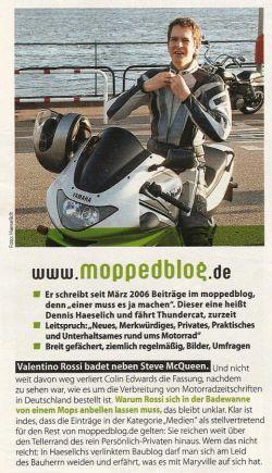 """Auschnitt aus dem """"Motorrad""""-Artikel """"Netztagebücher mit zwei Rädern"""""""