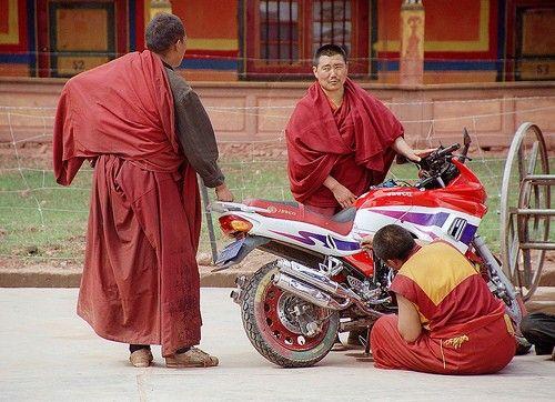 Zen-Mönche am Mopped