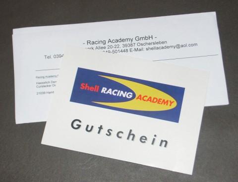 Gutschein der Shell Racing Academy
