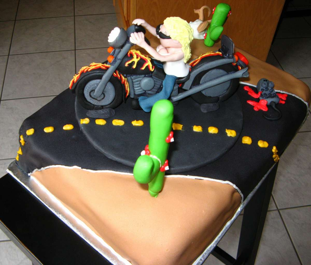 Birthday Cake With Motorcycle On It